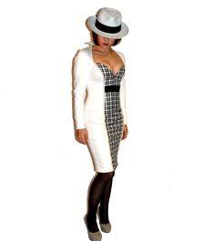 robe femme, robe de céateur, robe blanche et carreaux noirs, courte décolleté plongeant originale, Eloïse Lehuédé créations : Robe par eloise-lehuede-creations