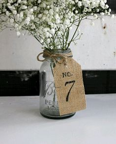 Original Burlap Wedding Table Numbers / Burlap Table Numbers / Rustic Burlap Woodland Tags / Table Number Wedding Burlap Centerpieces – - Decoration For Home Burlap Table Numbers, Wedding Table Numbers, Wedding Table Markers, Burlap Centerpieces, Wedding Table Centerpieces, Centerpiece Ideas, Graduation Centerpiece, Burlap Table Decorations, Inexpensive Centerpieces
