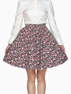 Floral Bubble Skirt With Lace Trim