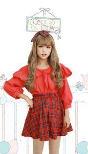 Harajuku college girl red tartan short skirt