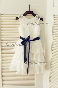 Chiffon Lace Cupcake Flower Girl Dress Navy Blue by knothouses