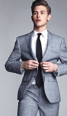 Grey suit black tie and crisp shirt timeless men mens male