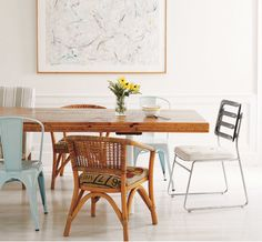 Mixed dining room chairs.