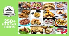 Over 250 yummy sweet and savoury pies, pastries and snacks to make at home in your pie maker machine. Vegetarian, gluten-free and vegan recipes too. Donut Maker Recipes, Mini Pie Recipes, Waffle Iron Recipes, Vegan Recipes, Tart Recipes, Snacks To Make, Food To Make, Sunbeam Pie Maker, Vegetarian Pie