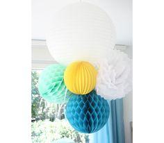 Lanterne chinoise blanche, boules alvéolées menthe givrée et bleu acqua, pompon blanc et lampion rond jaune Sous le Lampion http://www.vogue.fr/mariage/adresses/diaporama/un-mariage-sous-le-lampion-decoration-de-mariage/21600#!lanterne-chinoise-blanche-boules-alveolees-menthe-givree-et-bleu-acqua-pompon-blanc-et-lampion-rond-jaune-sous-le-lampion