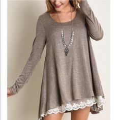 ELISSA Long Sleeve Knit Top - MOCHA Long Sleeve Knit Top With Lace Detail. Light material. NO TRADE, PRICE FIRM Bellanblue Tops Tees - Long Sleeve