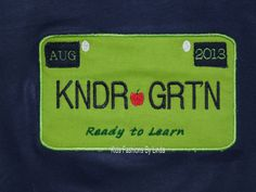Navy Blue Kindergarten Tag Shirt by FashionsforKids on Etsy, $20.00