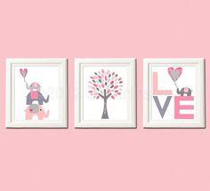 Rosa und grauen Kindergarten Art Print Set von SugarInspire auf Etsy