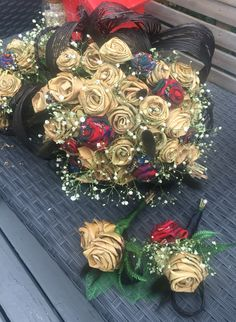 Flax & tartan rose bridal bouquet & buttonholes