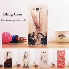 Luxury Bling Fashion Rhinestone Painted 3D Relief sFor Samsung Galaxy A5 Case For Samsung Galaxy A5 A5000 Phone Case Cover