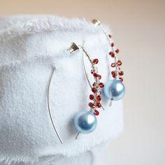 Swarovski pearl earrings  wire wrapped silver jewelry by arrabeska, $48.00