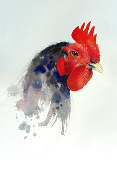 Watercolor. I love how the artist embraces the medium and just blends the rooster into the page only like watercolor could. Lovely.