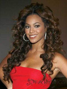 Sexy Beyonce Knowles' Lace Front Wigs Long Curly Brown Human Hair