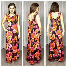$25 Vintage 60s Charlolla Hawaiian barkcloth floral bright draped back maxi dress