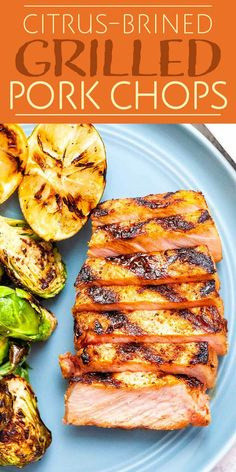 Citrus-Brined Grilled Pork Chops It's all about the citrus brine with these pork chops! Brining helps them stay tender and moist through the high heat of grilling, and the citrus adds a magical zing to the flavor! Pork Rib Recipes, Pork Chop Brine Recipes, Smoker Recipes, Meat Recipes, Slow Cooker, Grilled Fruit, Grilled Meat, Pork Marinade, Bbq Pork Ribs