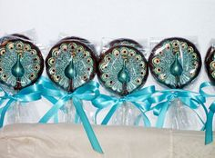 10 Chocolate Peacock lollipops  for weddings by candycottage, $30.00