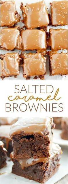 Salted caramel brownies are easier than you think and are so delicious.- Gesalzene Karamell-Brownies sind einfacher als Sie denken und sind so lecker. Salted caramel brownies are easier than you … - Salted Caramel Brownies, Fudgy Brownies, Salted Caramels, Caramel Treats, Caramel Recipes, Salted Caramel Cupcakes, Caramel Deserts, Best Brownies, Chocolate Caramels