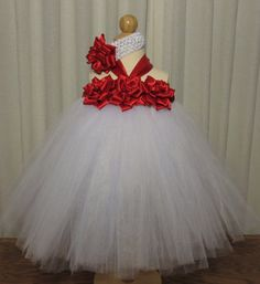 Red and White Rose Tutu Dress with a Matching by simplyyarn27