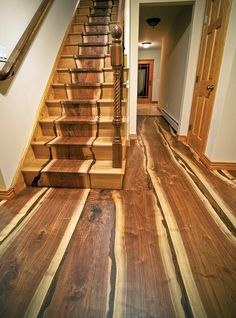 These hardwood floors and stairs are gorgeous! Natural organic log unique cabin These hardwood floors and stairs are gorgeous! Walnut Floors, Hardwood Floors, Walnut Wood, Real Wood Floors, Floor Design, House Design, Yard Design, Into The Woods, Wooden Stairs