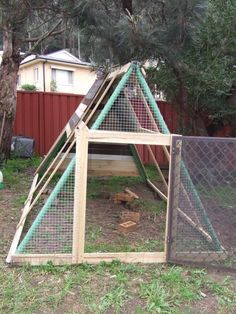 Metal Swingset / Chicken Coop Conversion Project... can be used as a daily turn out... and the A frame can be moved around the garden.