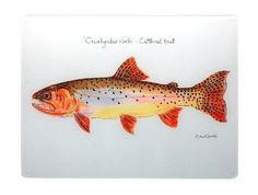 Beautiful Trout Cuttings by Red Cabin Pottery Give your favorite fisherman something that is pleasing to the eye and useful in the Kitchen. These beautiful trout chopping boards by Red Cabin Pottery a