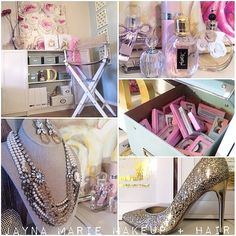 """Repost - a sneek peek inside the makeup studio of @jaynamariemakeup - """"Welcome to my little studio space! This is where I do #hair and #makeup for brides and other clients when I'm not on the road!  I love displaying my favorite girlie stuff like pretty perfume bottles, #elsacorsi jewels and the sparkly @ivankatrump heels I wore on my wedding day. """" Of course I've also made sure to have lots of storage for all my #lashes !!! #makeupartist #girlstuff #homedecor @jewelietteshop @houseoflashes…"""