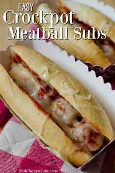 Easy Slow Cooker Crock Pot Meatball Subs sandwiches made with frozen meatballs! Great comfort food d Easy Slow Cooker Crock Pot Meatball Subs sandwiches recipe made with frozen meatballs! Meatball Sub Sandwiches, Meatball Sub Recipe, Meatball Subs, Easy Crockpot Meatballs, Crockpot Meals, Football Parties, Appetizer Recipes, Fall Appetizers, Dinner Recipes