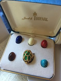 Trifari RING in Original Box Interchangeable CABOCHONS Multi Color Faux Gems by jewelryannie on Etsy