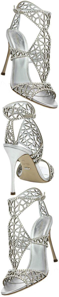 Sergio Rossi Tresor Crystal-Embellished Silk Sandals