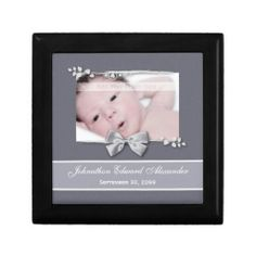An elegant grey photo birth announcement commemorative flip giftbox with a silver ribbon bow design. Personalize by adding your newborn baby picture, baby name, and birth date. http://www.zazzle.com/elegant_photo_birth_announcement_silver_ribbon_gift_box-246077353952401224?rf=238835258815790439
