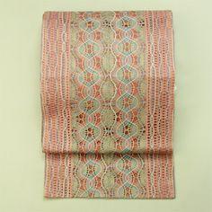 Pink, zentsu fukuro obi / こだわりのお洒落に ピンク地 レーシーな織り柄 全通袋帯
