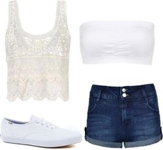 Inspired Outfit for a Video Chat  Crochet top / Charlotte Russe bandeau bra / Highwaist shorts / Keds ® shoes, $51