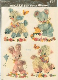Vintage Meyercord Nursery Decals.  My grandfather crafted some furniture for me and these decals were on them.