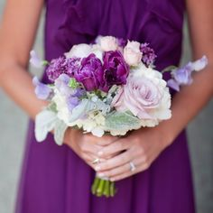 Purple parrot tulips, amnesia roses and lavender sweet peas.