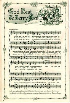 God Rest Ye Merry Gentlemen vintage Christmas carol song sheet printable.