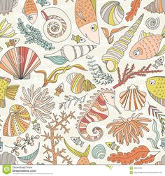ocean-pattern-vector-seamless-hand-drawn-fishes-corrals-shells-seaweeds-sea-horse-other-underwater-creatures-background-48619722.jpg (1300×1390)