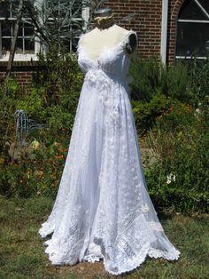 Vintage collage hippie wedding gown $950.00 vintage-inspired-wedding-dresses