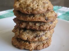 Barefoot Contessa's Oatmeal Cookies with Pecans and raisins, use about 3/4 of the amount of sugar.