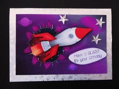 Rocket Ripped Birthday on Craftsuprint designed by Vicki Avcin - made by Valerie Spowart - Printed out sheet onto matt photpaper, attached base to silver foil embossed paper, added topper and decoupage with foam pads, and finished with clear star gems. A great children's design. - Now available for download!
