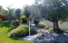 L'ambiance méditerranéenne s'instaure par les plantes et des éléments que l'on associe au soleil. Et il y a des… Garden Yard Ideas, Olive Tree, Facade, World, Green, Nature, Cordyline, Outdoor, Design