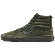 Vans Mono Sk8 Hi Reissue Zip ($79) ❤ liked on Polyvore featuring men's fashion, men's shoes, men's sneakers, mens skate shoes, mens leather brogues, vans mens shoes, mens brogues and mens leather shoes