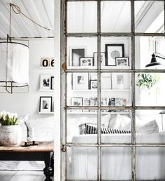 my scandinavian home: old window dividers in the sitting room of the beautiful country home of Therese Johansen.