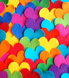 Wishing you a very Happy Valentines with much love and colour ♥Rainbow felt hearts. Wishing you a very Happy Valentines with much love and colour ♥ Happy Colors, True Colors, All The Colors, Vibrant Colors, Colorful, Taste The Rainbow, Over The Rainbow, Rainbow Heart, Rainbow Things