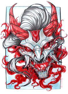 Blood Moon Thresh by HauRin on DeviantArt Tatoo Art, Body Art Tattoos, Cool Tattoos, Best Tattoo, Mascara Oni, Samurai Mask Tattoo, Oni Mask Tattoo, Demon Tattoo, Hanya Tattoo