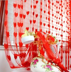 Love Heart Faille String Curtain Wedding Valances Tulle Voile Door Window Drapes Romantic Decor New cortinas tulle curtains String Curtains, Tassel Curtains, Door Curtains, Bathroom Curtains, Curtain Door, Kitchen Curtains, Window Valances, Sheer Curtains, Door Dividers