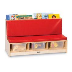 Jonti-Craft Reading Bench with Storage Book Storage, Bench With Storage, Tidy Books, Comfortable Couch, Blue Cushions, Craft Corner, Corner Nook, Preschool Classroom, Classroom Chair