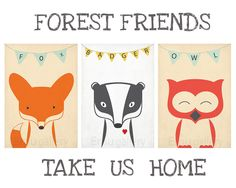 Retro posters - A3 set - forest animals - vintage print, wall decoration, nursery retro wall decor, cute baby animals, fox, badger, owl. $49.00, via Etsy.