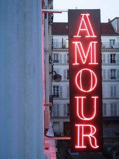 heart, neon signs, one word, amour, france