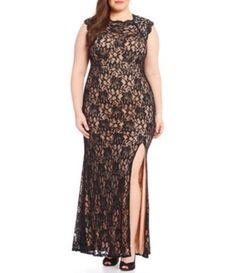 02d8958b31c Jodi Kristopher Plus Jeweled Shoulders Long Lace Dress  Dillards Dillards