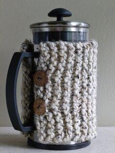 Hand Knit French Press Coffee Cozy in Oatmeal by BoPeepsBonnets